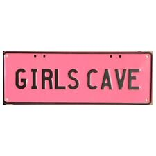 Novelty Number Plate - Girls Cave - Black On Pink AUS Licence Plate Sign Wall Ar