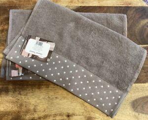 Latte Polka Dot Border Large Guest Towels x5 30cm x 80cm APPROX