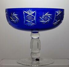 "BOHEMIAN/BOHEMIA CRYSTAL ""PINWHEEL"" CUT GLASS FOOTED BOWL - 6 1/4"" TALL"