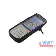 Para Nokia C3-01 Negro Con Cremallera Estilo Cuero Funda Soporte + Metal Clip zvlr 128