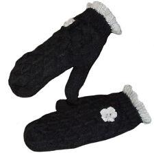 NEU Damen Strick Handschuhe Fleece gefuttert Schnur Fäustlinge Fausthandschuhe S
