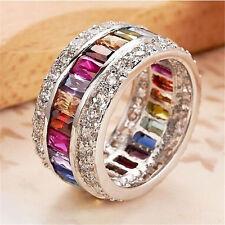 Fashion 925 Silver Charm Multicolor Sapphire Gemstone Rings Women Wedding Size 9