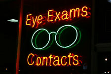 """New Eye Exams Contacts Bar artwork Real glass Neon Sign 32""""x24"""" Beer Lamp Light"""