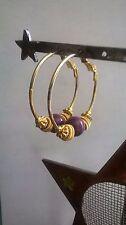 Hoop Earrings Purple Wire Pierced Women Wife Mother Teen Fabulous! A+ Gift (J)