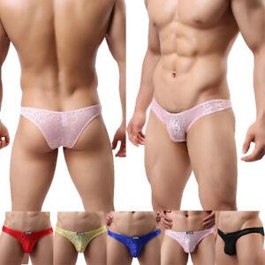 Men Underwear Briefs Sexy Lingerie Lace Low-rise Boxer Thong Underpants Panties^