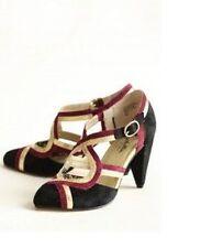 Anthropologie Shoes SEYCHELLES PETUNIA HEELS 7.5 Black Suede Gold Purple Pumps