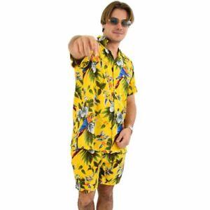 Yellow Magnum Mens Hawaiian Shirt & Shorts Set