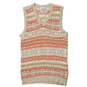 Jamieson's Cotton linen Fair Isle V-neck knit vest S Orange/Beige sweater tops