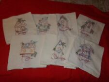 "7  VINTAGE HAND EMBROIDERED FLOUR SACK KITCHEN TOWELS  ""BIRD HOUSES"" UNUSED"