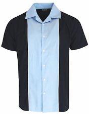 Relco Men's Bowling Shirt Open Neck Blue Vintage 1950's Rockabilly Tenpin Top