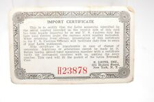 Vintage Leica Import Certificate Card Document Serial Number 637425 Leitz Camera