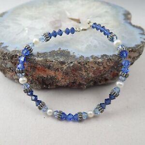 "Fine Blue Crystal Genuine Pearl Sterling Silver Clasp 7 1/2"" Bracelet Weighs 6.8"