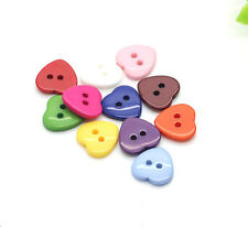 12PCS Coloured Resin Heart Shaped Two Hole Flat Buttons Craft DIY Kids 15*15MM