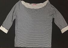 Womens Supre Size S/10 Navy & White Striped Boat Neck Top -  BNWOT