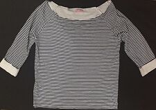 Womens Supre Size M/12 Navy & White Striped Boat Neck Top -  BNWOT