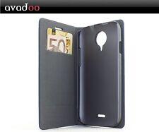avadoo® Wiko Darknight Flip Case dual Naht Cover in Blau-Braun als Tasche Hülle