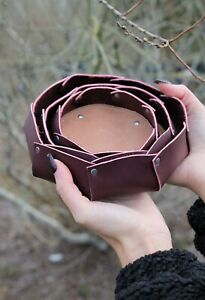Handcrafted Leather Nesting Bowls Set of 3, Leather Tray, more colors