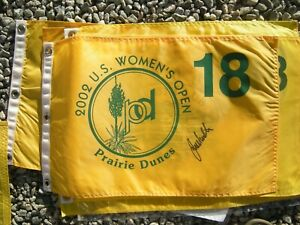 2002 WOMEN's us open FLAG @ Prairie Dunes signed Juli Inkster (winner) +++ BALL