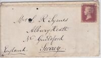 GB10003) GB 1d Red Plate 86 on cover 1867, Alnwick to London to Guildford