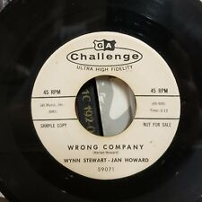 Wynn Stewart Jan Howard Roots Country 45 We'll Never Love Again / Wrong Company