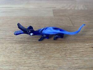 Vintage Blue Glass Crocodile Alligator Animal Pirelli Murano Style Lampwork