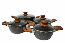 8 Pc Cookware Set Casserole Pots Lid Stockpot Stew Soup Granite Coated Steel New