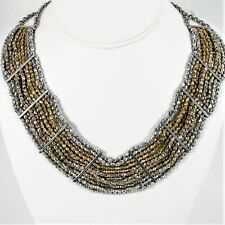 Lucky Brand Mixed Metal Faceted Bead Wide Collar Necklace Silver and Gold Tone
