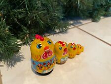 Russian Nesting Dolls Chicken Family! 5 pieces Beautiful Set
