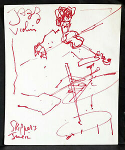 """Art Drawing, 14 X 17"""" Life Drawing Jazz Musician, Red Ink Drawing"""
