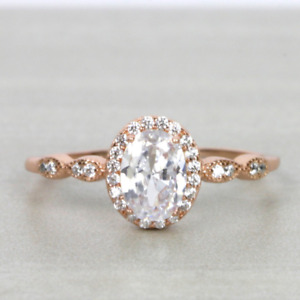 1ct Oval Cut Halo Rose Gold Engagement Ring Wedding Promise Anniversary Ring