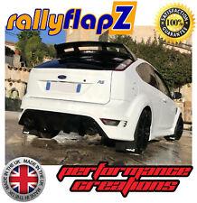 RallyflapZ Ford Focus RS MK2 Qty4 Bavettes & Fixations Noir 4 mm PVC Logo Blanc