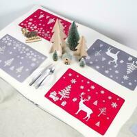 6PCS Christmas Dining Mats Set Reindeer Placemats Cup Coasters Mats X9P9