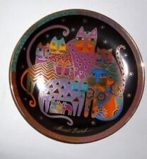 "1994 Laurel Burch Franklin Mint Cat Plate - Fabulous Felines 8"" 24 Karat Gold"