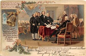 G75/ Patriotic Postcard c10 Declaration of Independence Signing Washington 10