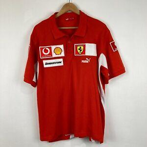 Puma Ferrari Polo Shirt Mens Size XL Extra Large Red Short Sleeve Collared