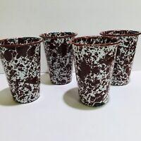 Brown Spatterware Enamelware Drinking Cups Tumblers Set of 4 Vintage