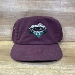 Telluride Hat Vintage Retro Adjustable Leather Strap Maroon