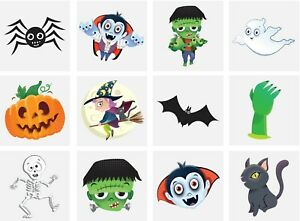 Spooky Halloween Vampire Pumpkin Bats Kids Pretend Transfers Tattoos NEW DESIGNS