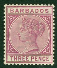 Barbados SG 95 3d deep purple.A very fresh lightly mounted mint example CAT £120