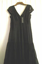 BNWT - TRINNY & SUSANNAH BLACK VINTAGE STYLE GOTHIC SILK EVENING DRESS - SIZE 12