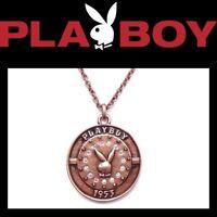 Playboy Necklace Bronze Medal Bunny Pendant Logo Copper y2k Play Boy NOS NIB NWT
