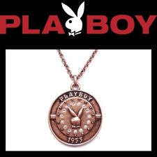 Playboy Necklace Bronze Medal Pendant Crystal Copper Bunny Logo Chain Gem NIB c3