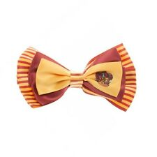 HARRY POTTER GRYFFINDOR LOGO BOW TIE HAIR CLIP ON ALLIGATOR SAFETY PIN RED GOLD