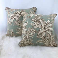 Mint Green and Tan Floral Accent Pillows-SET OF 2