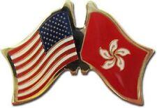 USA American Hong Kong Flag Bike Motorcycle Hat Cap lapel Pin