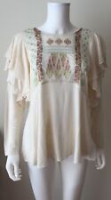 NEW NWT Free People La Cienga Ivory Embroidered Long Sleeve Sheer Top M MEDIUM