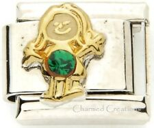 May Girl Birthstone 9mm Italian Charm Link Daughter Kid Green Birthday