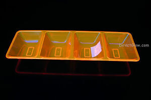 Neon UV Blacklight Reactive 4 Compartment Serving Tray Glow Party