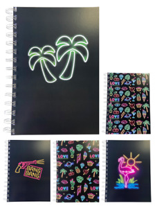 Various Premium Neon Print A5 Lined Notepads 80gsm 70 Sheets