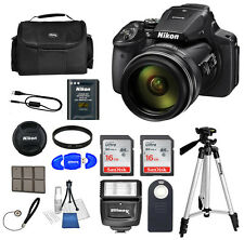 Nikon COOLPIX P900 Digital Camera 83x Optical Zoom Wi-Fi Black  32GB Bundle *NEW